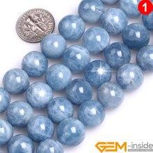 الحجر الطبيعي الأزرق AAA الصف الزبرجد حبة مستديرة لصنع المجوهرات ستراند 15 بوصة قلادة سوار ذاتي الصنع خرز للمجوهرات 6 مللي متر 8 متر