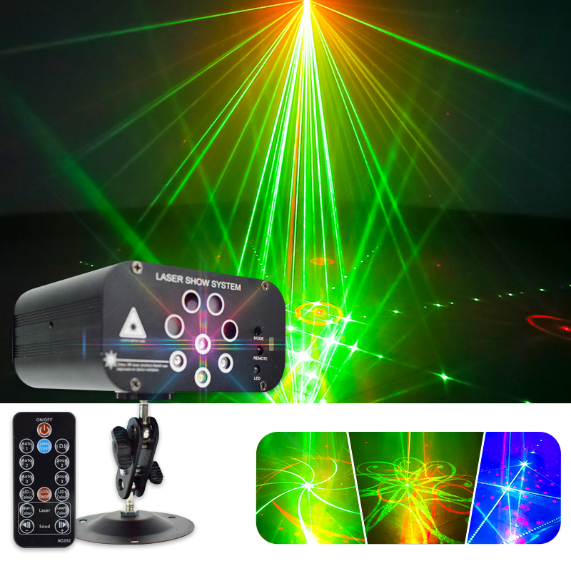 YSH Disco Light Laser DJ Party Lights 128 Patterns Projector For DJ Stage Decoration RGB Colorful Lighting Effect For Wedding