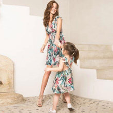 Family matching clothes mother daughter floral dresses bohemian