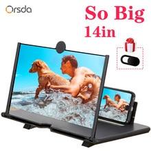 Orsda 14 inç 3d telefonu ekran amplifikatör HD gözler koruma ekran Video evrensel ekran amplifikatör destek tüm akıllı telefon