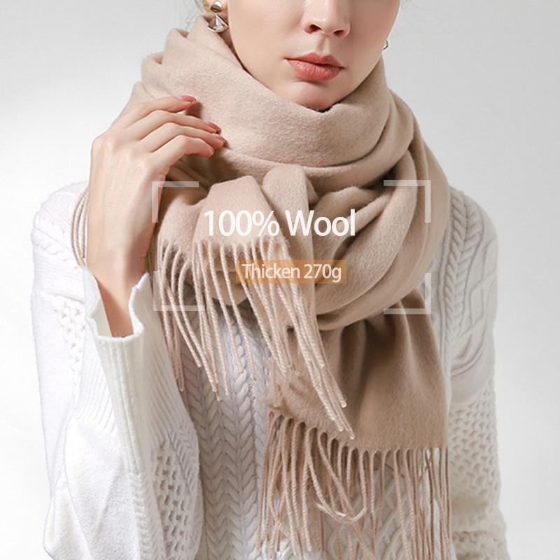 100% Pure Wool Scarf Women 2019 Brand Warm Shawls And Wraps For Ladies Foulard Femme Soft Solid Warps Winter Beige Wool Scarves