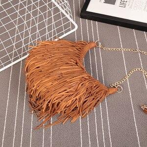 Image 4 - NIGEDU מותג עיצוב בציר נשים ארוך ציצית שקית שרשרת Crossbody שקיות נשים כתף שליח תיק איכות PU תיקים