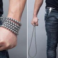 Personal Protection Self defense Titanium Steel Bracelet Steel Ball Self defense Bracelet Tactical Necklaces Car Pendants