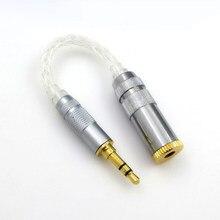 Novo fone de ouvido de áudio 8-core único cristal cobre prata equilibrada plug 2.5 3.5 4.4mm adaptador de alta fidelidade fio uso adaptador conversor plug