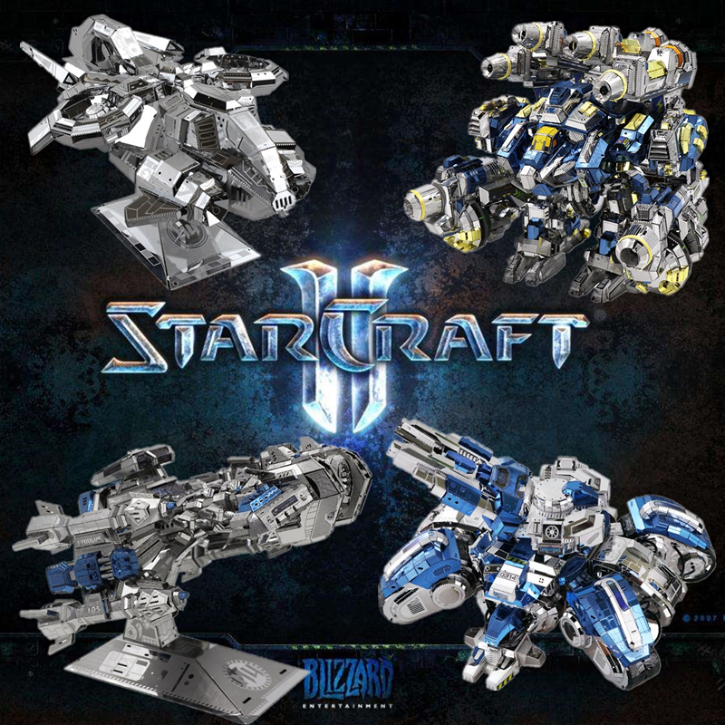 MU 3D Metal Puzzle Model Star Craft 2 Siege Tank Terran Battle Cruise DIY 3D Laser Cut Assemble Jigsaw  GIFT For Adult