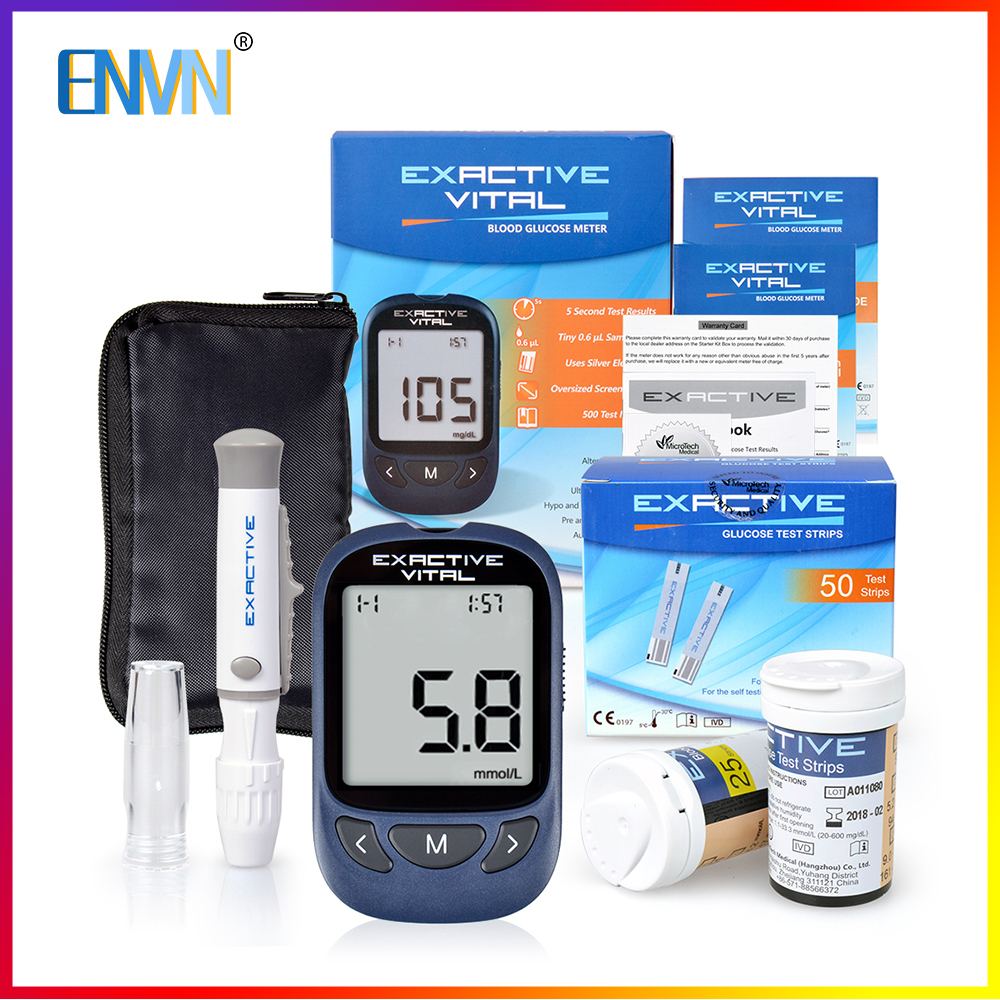 ENVN Blood Glucose Meter & Test Strips & Lancets Medical Blood Sugar Meter Glucometer For Diabetes Glucometro Mmol/L