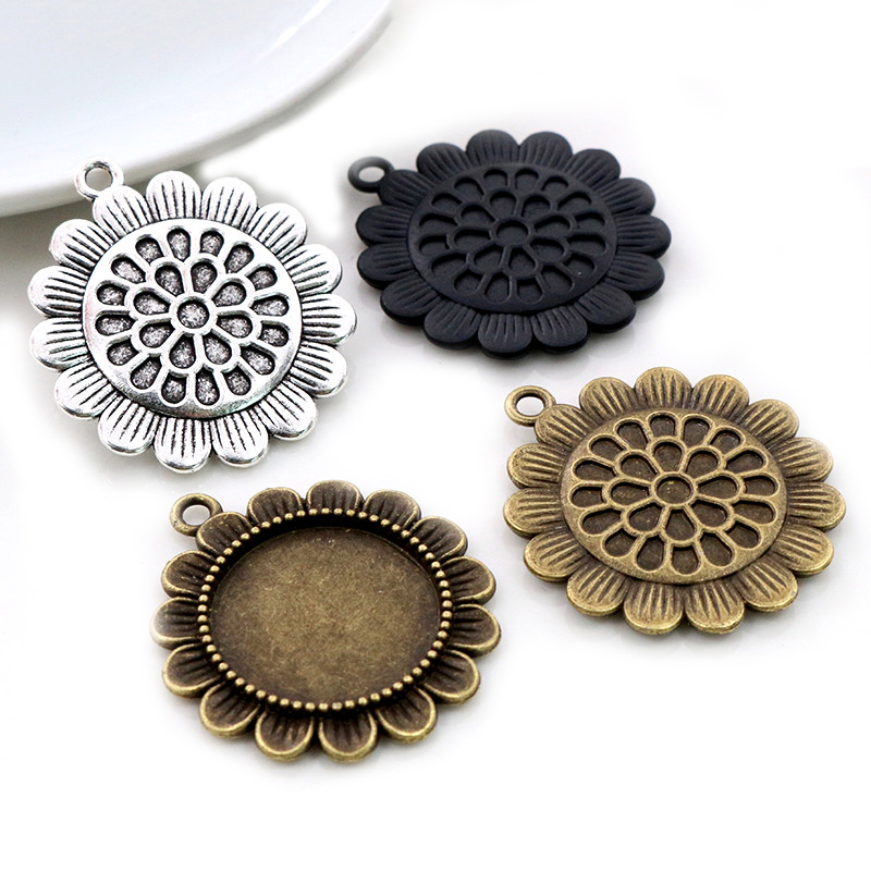 5pcs 20mm Inner Size Antique Silver Plated Black Bronze Classic Style Cabochon Base Setting Charms Pendant