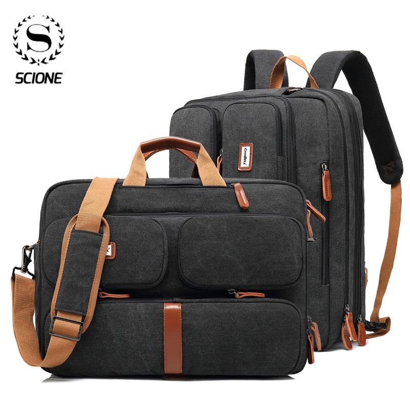 Scione Vintage Briefcases Bag Men Office Laptop Work Bag Man Convertible Business Multifunction Computer Handbag Travel  Bag