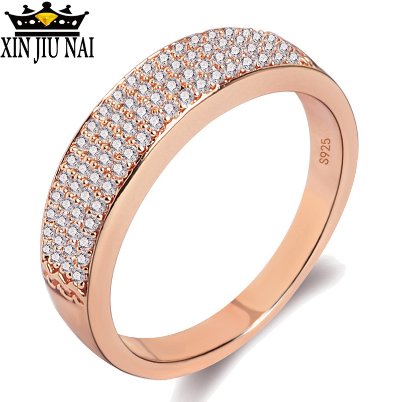 Luxurious Tiled Austrian Crystal 2 Colors Rhinestone Ring Female 925 Anillos Silver Jewelry For Women Anel Wedding Ring