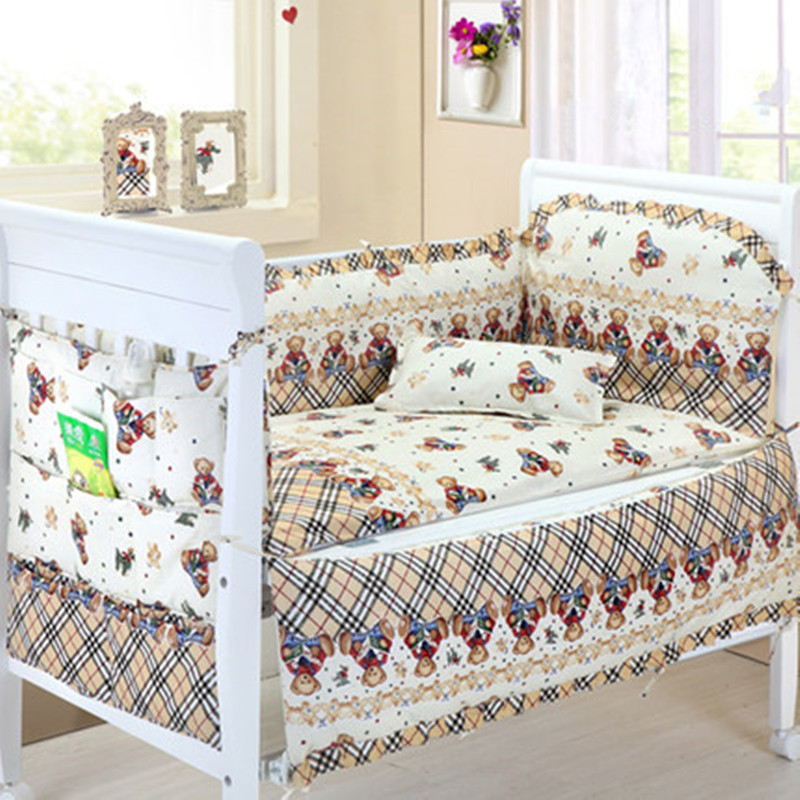 6PCS Cot Crib Bumper Bed Sheet Protetor De Berco Baby Room Decor Baby Bedclothes (4bumpers+sheet+pillow Cover)