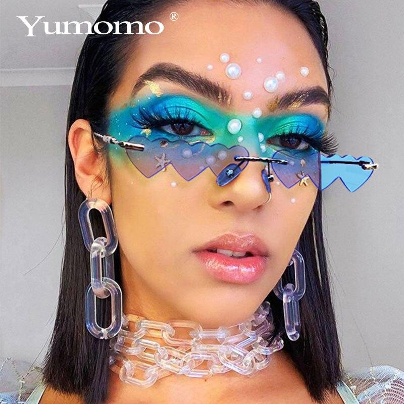 Heart Shaped Sunglasses Women Metal Women Brand Designer Fashion Rimless LOVE Clear Ocean Lenses Sun Glasses Oculos UV400