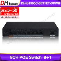 Dahua DH-S1500C-8ET1ET-DPWR Poe Switch 8CH Ethernet Schakelaar Ondersteuning 802.3af 802.3at Poe + Hi-Poe Power Standaard