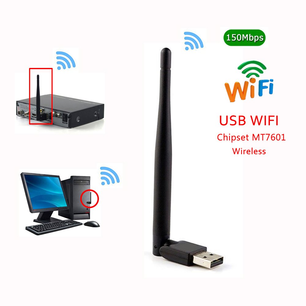 New 150Mbps Ralink 7601 Wireless Network Card Mini USB 3.0 WiFi Adapter Antenna PC LAN Wi-Fi Receiver Dongle 802.11 b/g/n