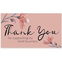 10-30 szt. Dziękuję za wsparcie moich małych wizytówek Premium brzoskwiniowy rumieniec z podniesionymi kwiatami