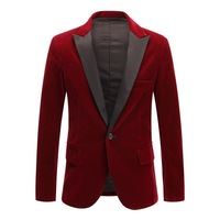 Men's Autumn Winter Velvet Wine Red Fashion Leisure Suit Jacket Wedding Groom Singer Slim Fit Blazer