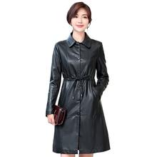 Women Autumn Winter Leather Trench Coats with Belt Plus Size 5XL Ladies Long Faux Leather Jacket Female Overcoats Windbreaker цены