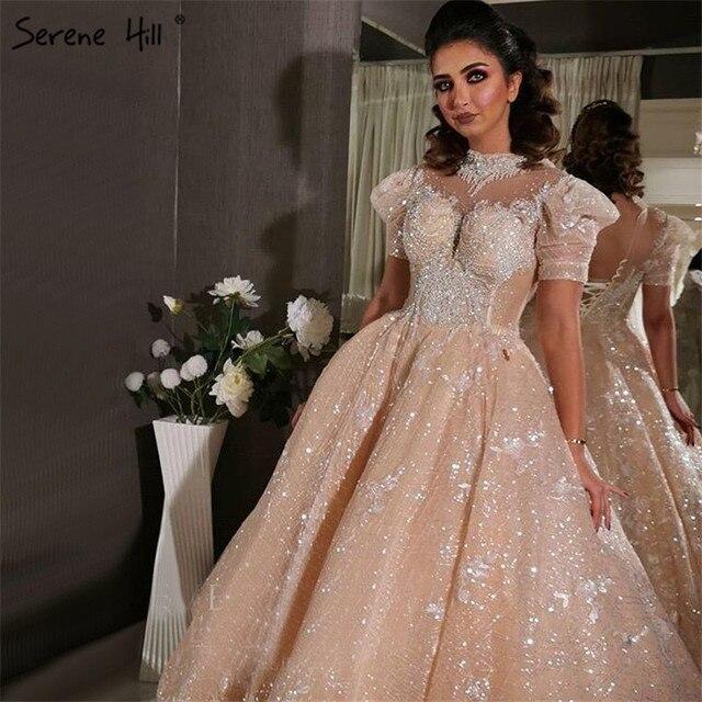Champagne alta pescoço luxo dubai vestidos de casamento 2020 manga curta lantejoulas rendas até vestidos de noiva hx11612 feito sob encomenda
