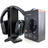 For D1 Wireless TV Headphone with 2.4G Digital Transmitter Charging Dock Cordless For Radio and Computer gaming with EU plug