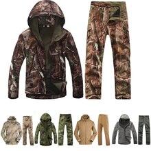 Военные охотничьи куртки зимние TAD 4,0 кожа флисовые куртки мужские камуфляжные куртки с капюшоном+ штаны Униформа верхняя одежда