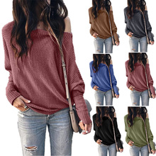 YELITE Women Waffle Knit Tops Casual Loose Tshirt for Womens Wear Cold Shoulder 2019 Autumn Winter