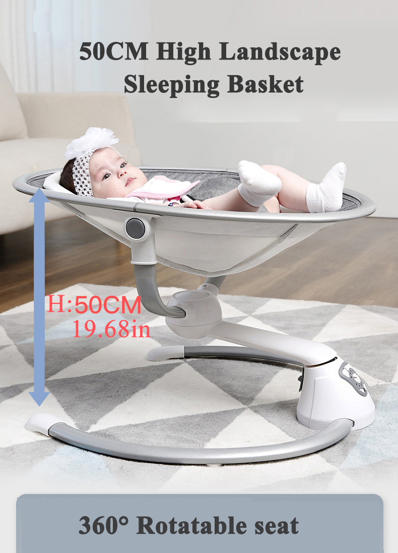 Hfdb71439de294089adabc47d01391daeV Babyinner Electric Baby Rocking Chair Bassinet Newborn with Mosquito Kids Swing 360 Degrees Rotatable Cradle Baby Sleeping Bed