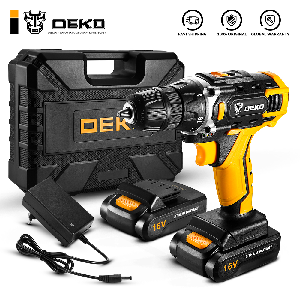 DEKO New Arrival Loner 16V Cordless Drill Powerful Screwdriver Mini Wireless Driver and Drill Woodworking DC Lithium-Ion Battery Garden Supplies Home Appliances