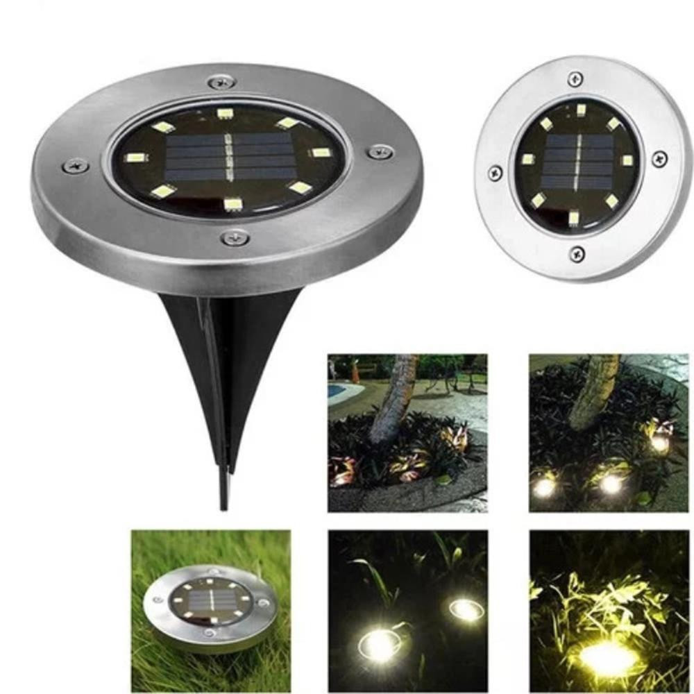 8 LED Solar Power Buried Light Under Ground Lamp Outdoor Path Way Garden Decking White Warm White Light Landscape Lights