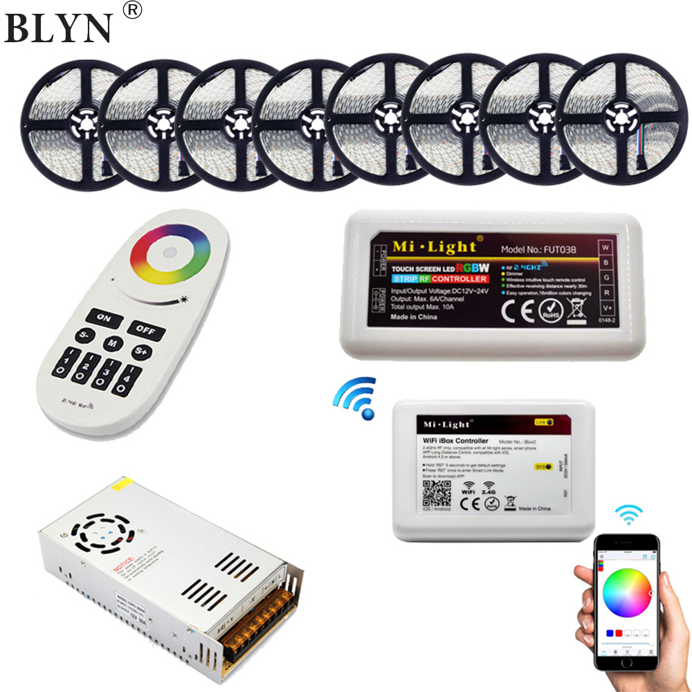 5M-40M 16Million Colors 5050 RGBW LED Strip RGBWW 60LED/M Tape Rope Light RF Remote Tuya WIFI Controller 12V LED Power Supply