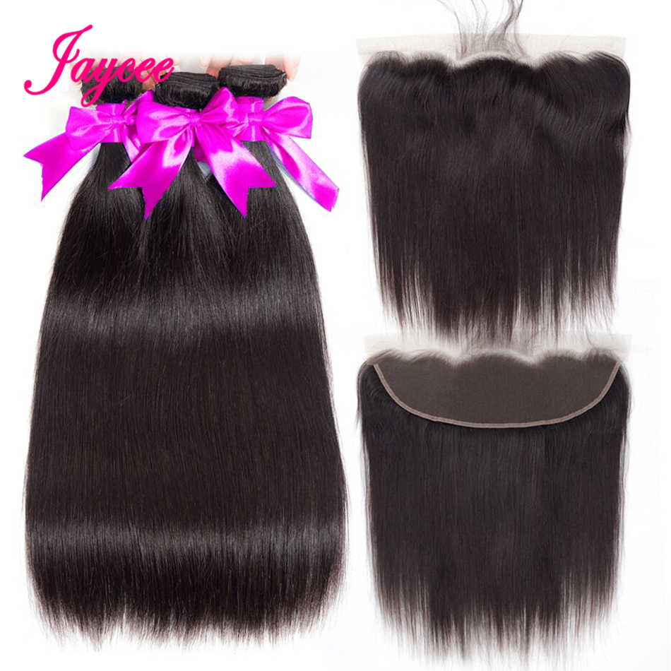Jaycee Peruvian Straight Hair Bundles With Frontal Remy Human Hair Bundles With Closure Lace Frontal Closure With Bundles