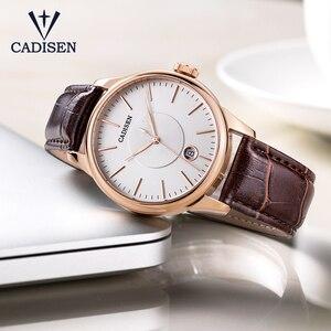 Image 4 - CADISEN 2019 יוקרה גברים של אוטומטי שעון עור מכאני שעון צבאי עסקי פנאי עסקים עמיד למים לוח שנה גברי