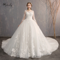 Optcely Real Photo Elegant Scoop Neck Three Quarter A line Wedding Dresses 2019 Train Appliques Beading Sweep Train Bridal Gowns