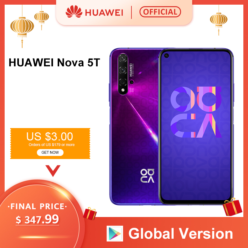 Global Version HUAWEI Nova 5T Smartphone 48MP Cameras 32MP Front Camera Cellphone 6.26'' Full Screen Kirin980 8G 128G Android 9