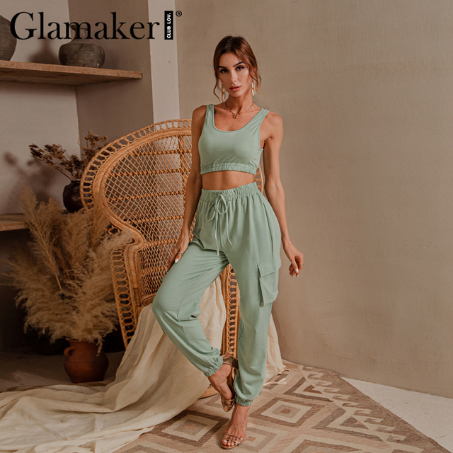 Glamaker Green sleeveless fitness suit set women crop top and pant two piece set casual fashion pocket ladies autumn tracksuit 1
