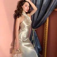 TVVOVVIN femmes robe sans manches épaules dénudées robe Champagne Vintage licou Sexy longue été femmes vêtements 2019 nouvelle mode X458