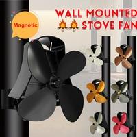 Wall Mounted Black Fireplace 4 Blade Heat Powered Stove Fan komin Log Wood Burner Eco Quiet Fan Home Efficient Heat Distribution