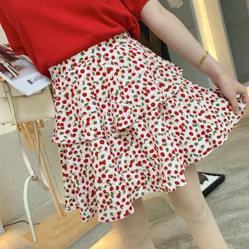 Photo Shoot Madame Chyan Celebrity Style Spring Clothing Network Red Wave Point High-waisted Cherry Skirt A- Line Cake Dress Pri
