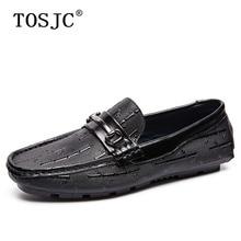 цена TOSJC Mens Casual Loafers Fashion Metal Buckle Penny Shoes Flats Moccasins for Man High Quality Breathable Slip on Driving Shoes онлайн в 2017 году
