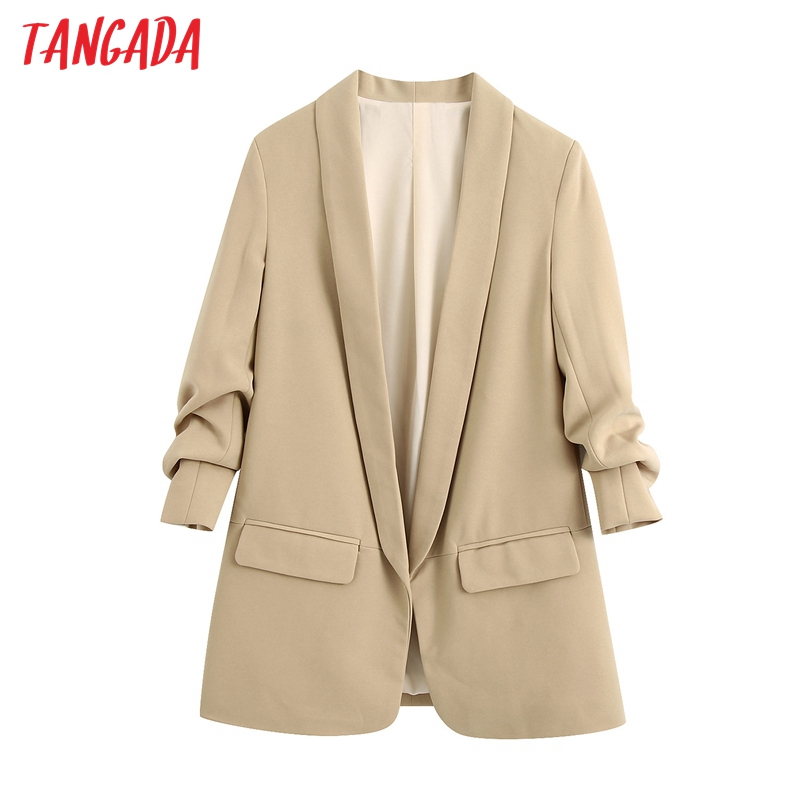 Tangada Women Elegant Khaki Blazer Female Long Sleeve Elegant Jacket Ladies Work Wear Blazer Formal Suits BE688