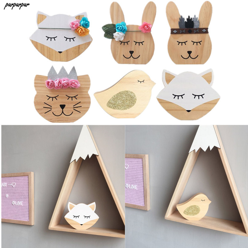 Nordic Rabbit / Bird Patttern Nursery Decoration Wooden Cute Animals Ornament Photography Props For Children Room Decor