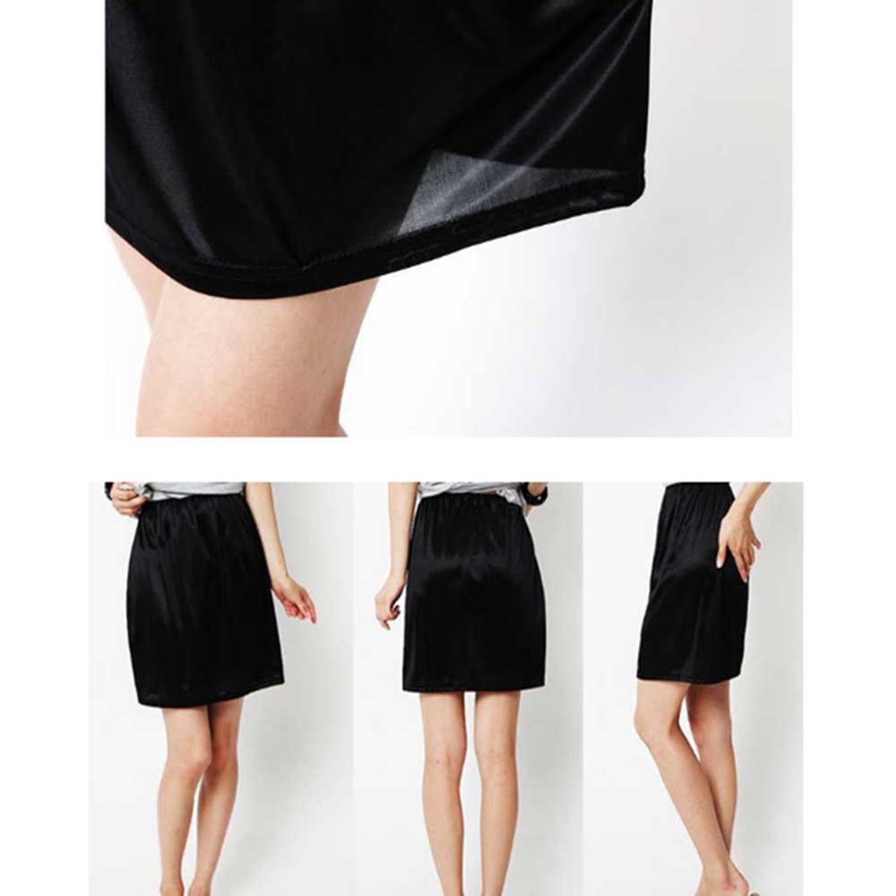2020 新しい女性サテンハーフスリップアンダーペチコート下ドレスミニスカート安全スカート女性緩い抗露出安全スカート