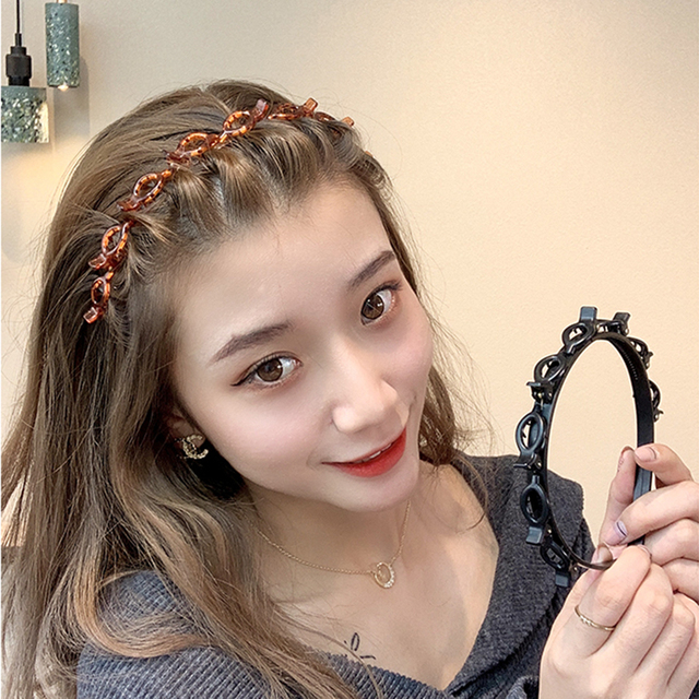 AWAYTR Double Layer Bands Clip Hairbands Fashion Plastic Braided Headband Punk New Knitting Womens Headwear Hair Accessories 2
