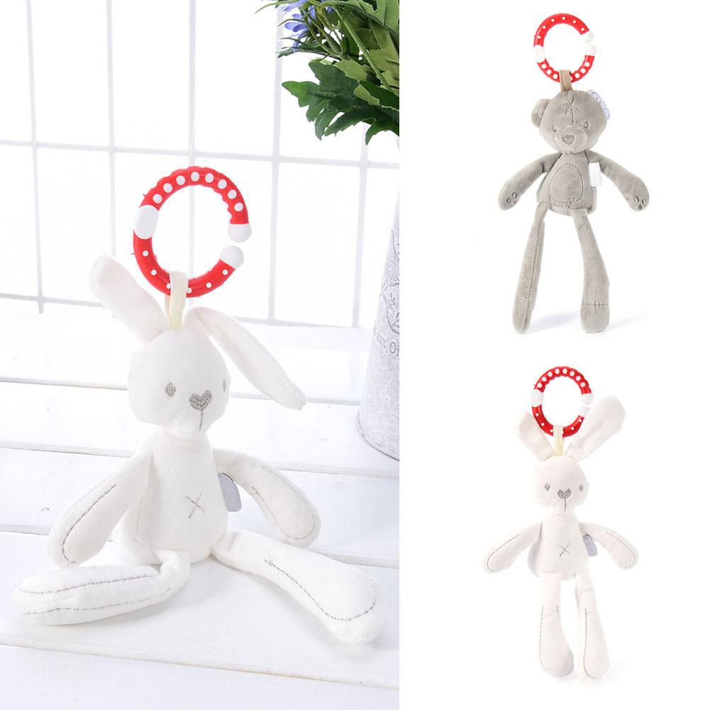 Cute Baby Crib Stroller Toy Rabbit Bear Soft Plush Infant Doll Mobile Bed Pram Kid Animal Hanging Ring For Baby