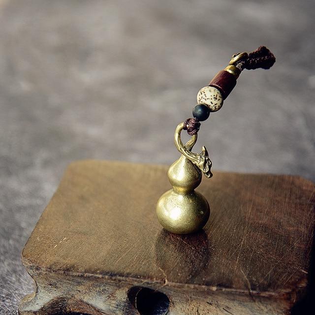 Mini Brass Gourd Statue Ornament Pendant Bless Peace Pocket Figurines Home Office Desk Decorative Ornament Key Pendant Toy Gift 2