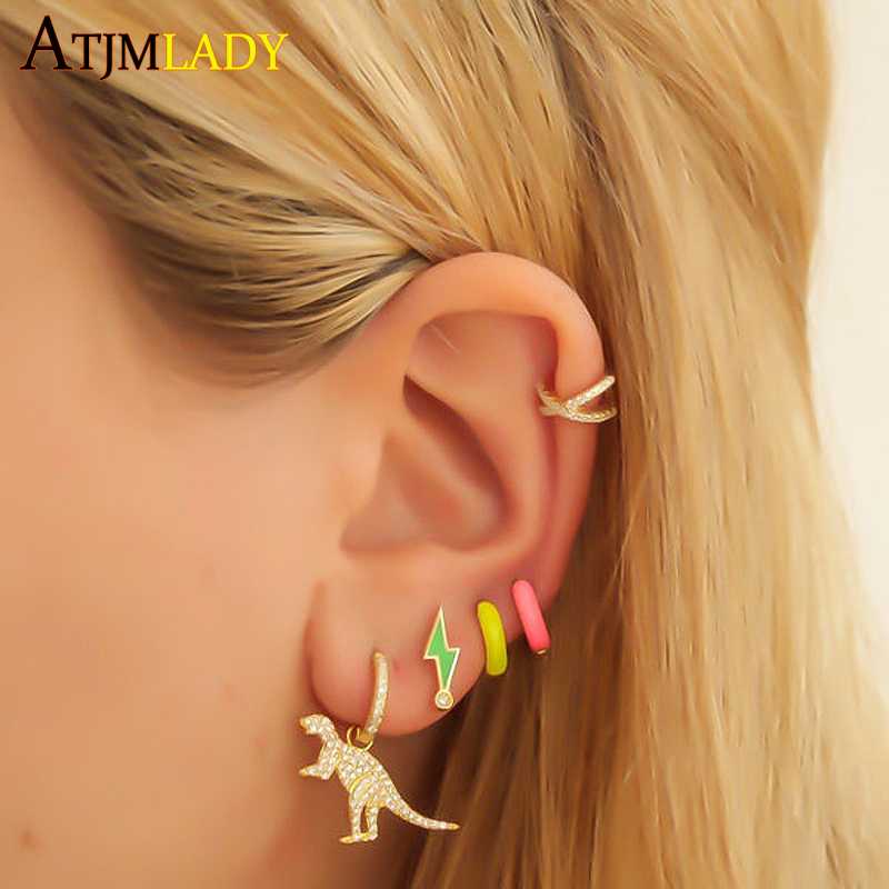 2020 summer minimalist 925 sterling silver Neon colorful jewelry candy enamel lightning bolt small cz stud earring for women