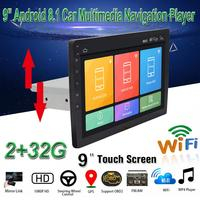 9 inch Android 8.1 1DIN Universal GPS Navigation Car Multimedia Player Support Mirror Link OBD2 WiFi Car DVD Player DVR DAB+