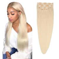 Toysww Clip In Human Hair Extension 100g 120g Brazilian Hair Extension Clip Human Hair Full Head Remy Hair Color #60