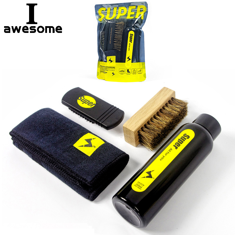 4-piece Set Professional Shoes Care Kit Cleaner Portable For Leather Shoes Sneakers Cleaning Deep Cleaning Agent Set Brush Tool