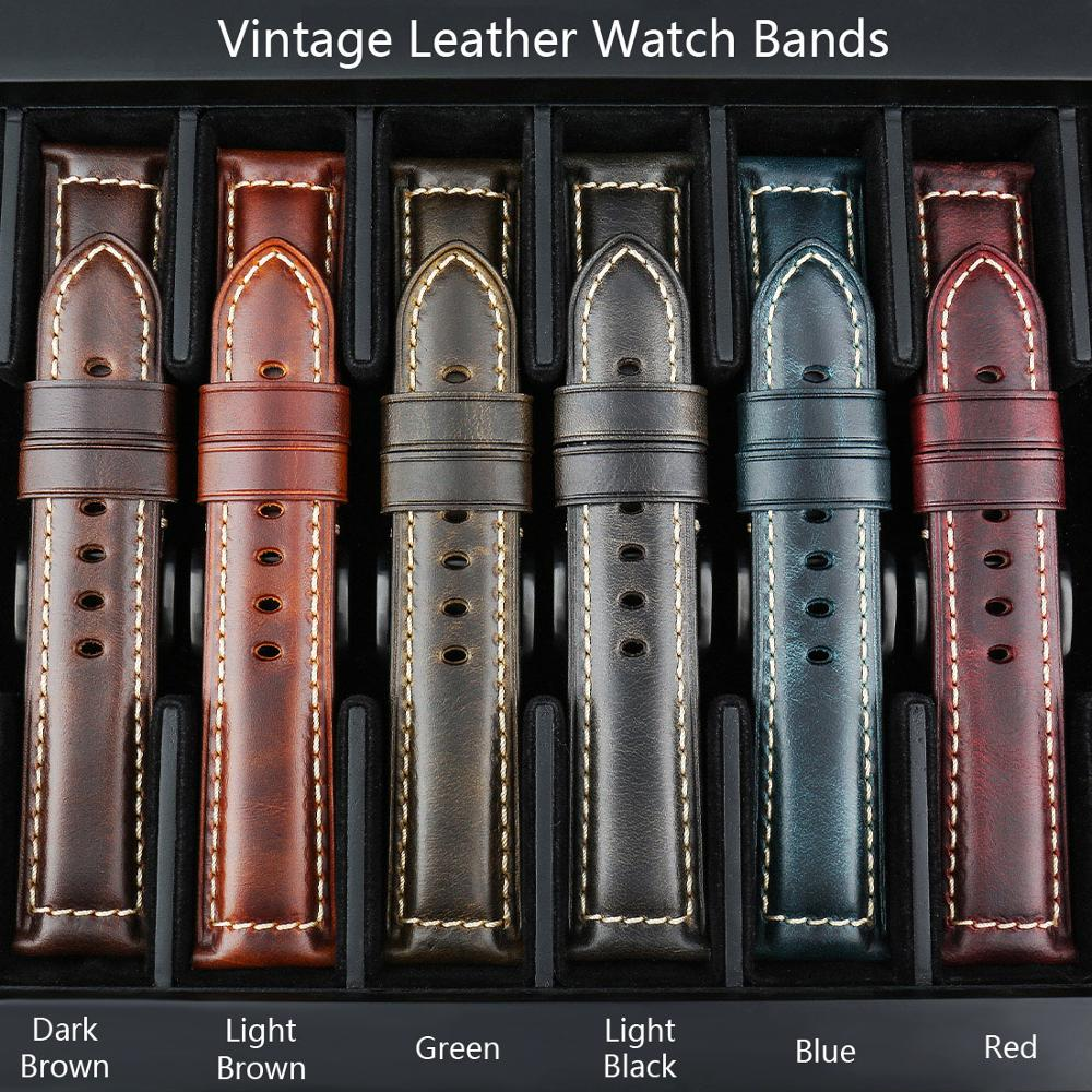 MAIKES Watch Accessories Watch Strap 20mm 22mm 24mm 26mm Vintage Cow Leather Watch Band For Panerai Fossil Watchband