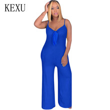 KEXU Solid V-neck Sexy Spaghetti Strap Bow Pocket Jumpsuits Women Elegant Rompers Sleeveless Hollow Out Loose Playsuits Overalls