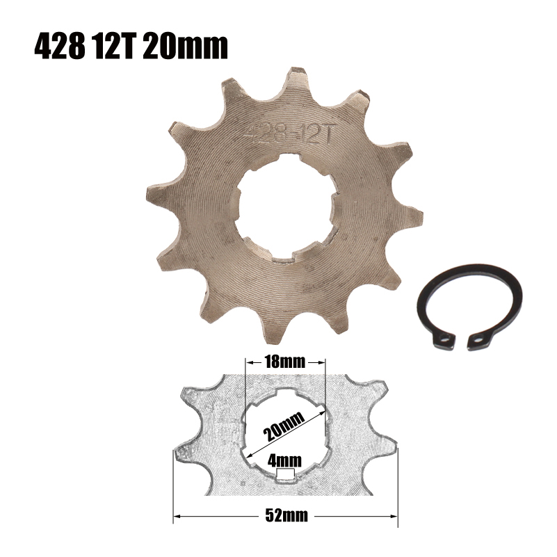 428 Chain 12T 20mm Front Engine Sprocket For 50cc to <font><b>125cc</b></font> Dirt Bike ATV Go Kart Quad <font><b>Pitbike</b></font> Buggy Motorcycle image